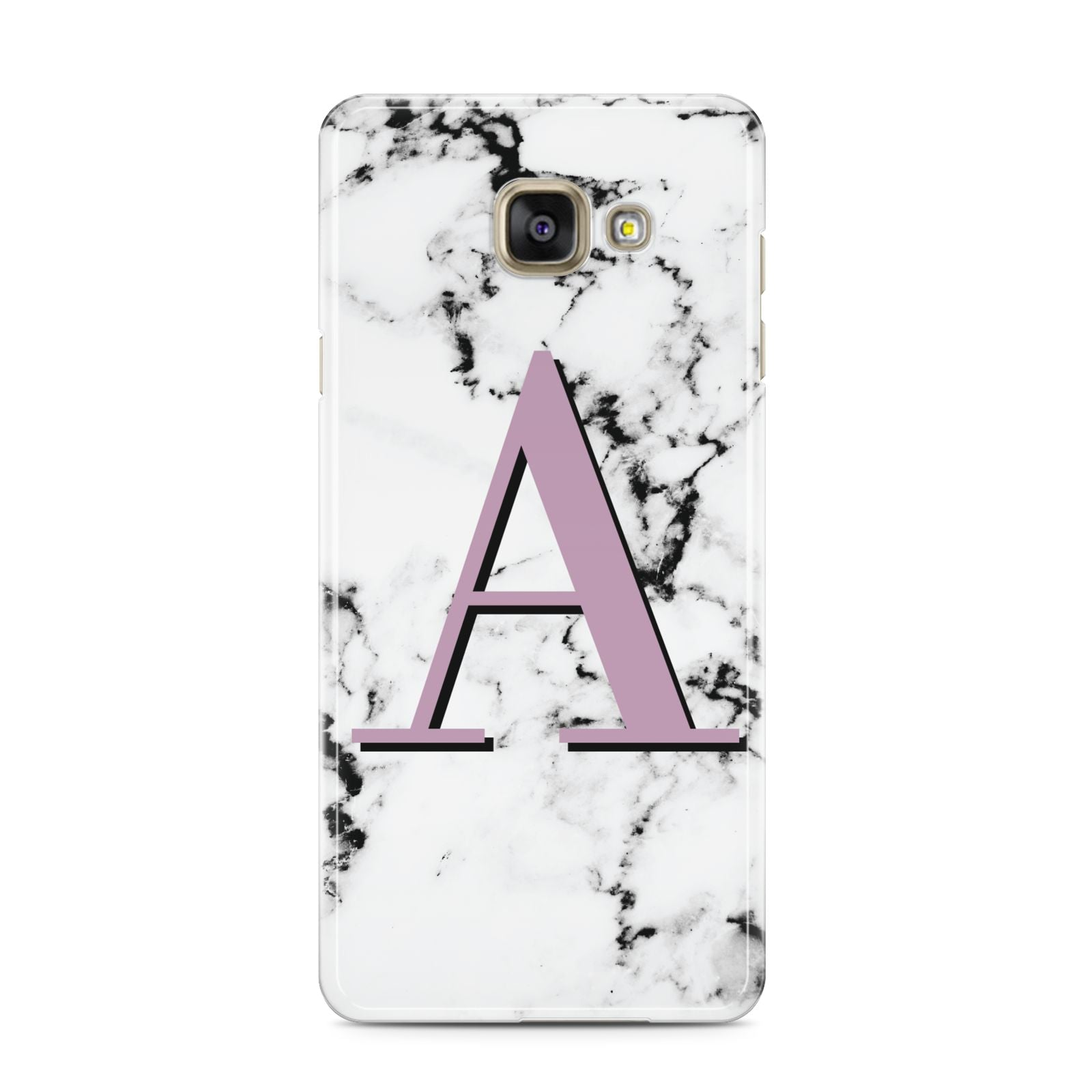 Personalised Purple Single Initial Marble Samsung Galaxy A3 2016 Case on gold phone