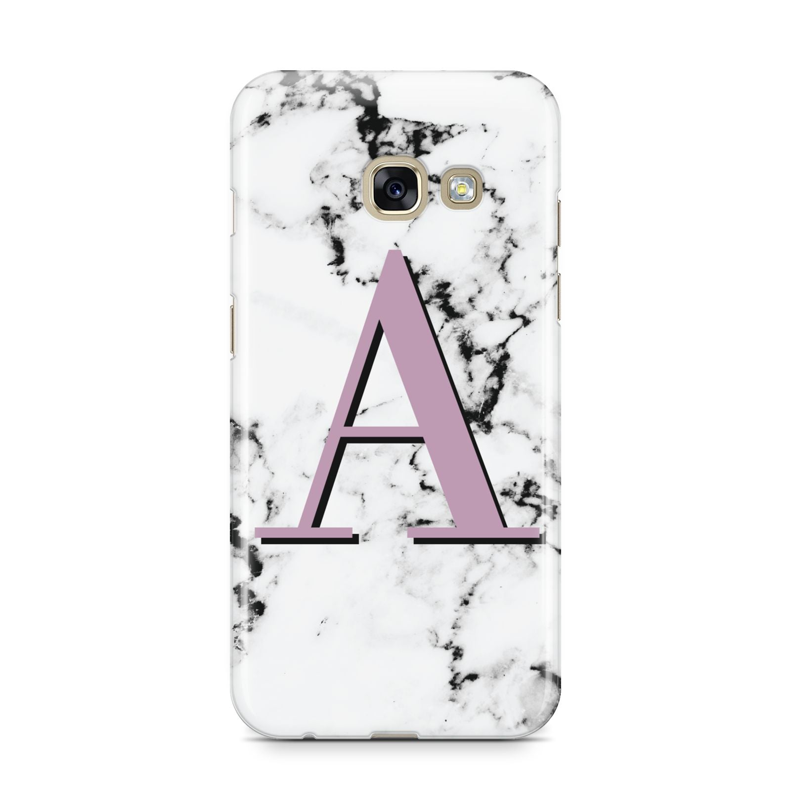 Personalised Purple Single Initial Marble Samsung Galaxy A3 2017 Case on gold phone