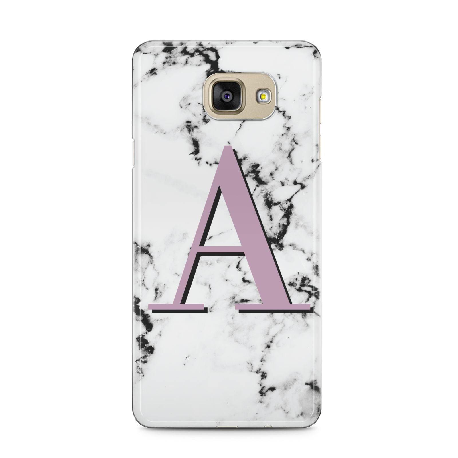 Personalised Purple Single Initial Marble Samsung Galaxy A5 2016 Case on gold phone