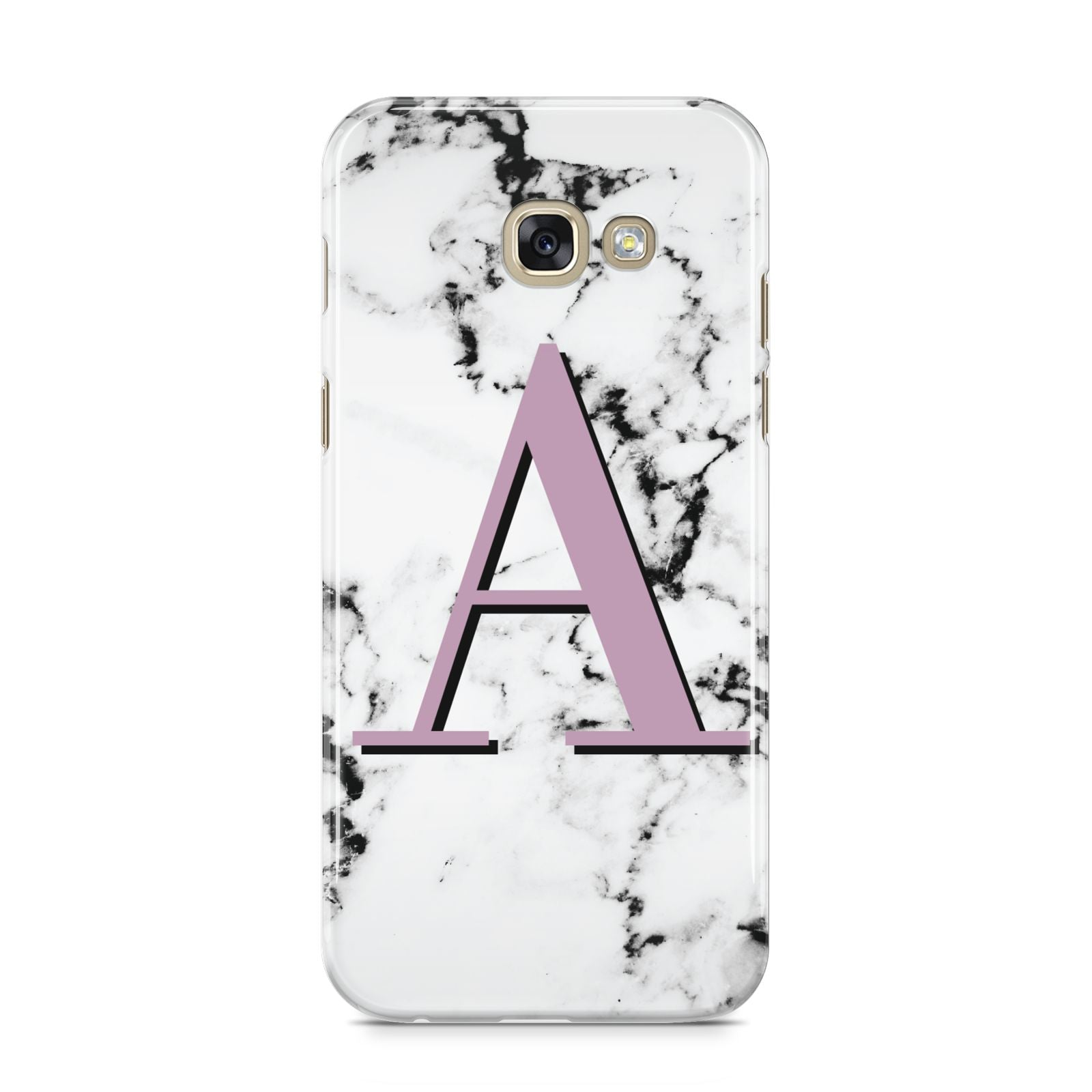 Personalised Purple Single Initial Marble Samsung Galaxy A5 2017 Case on gold phone