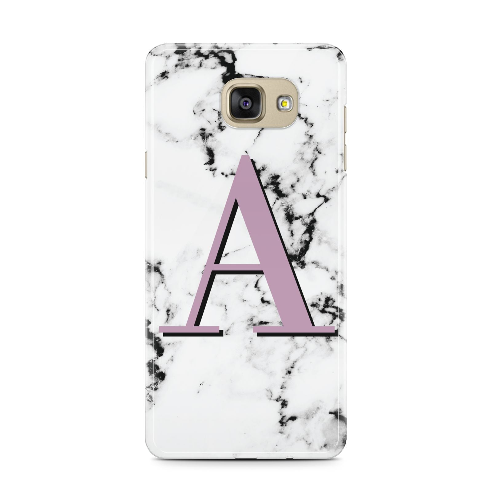 Personalised Purple Single Initial Marble Samsung Galaxy A7 2016 Case on gold phone