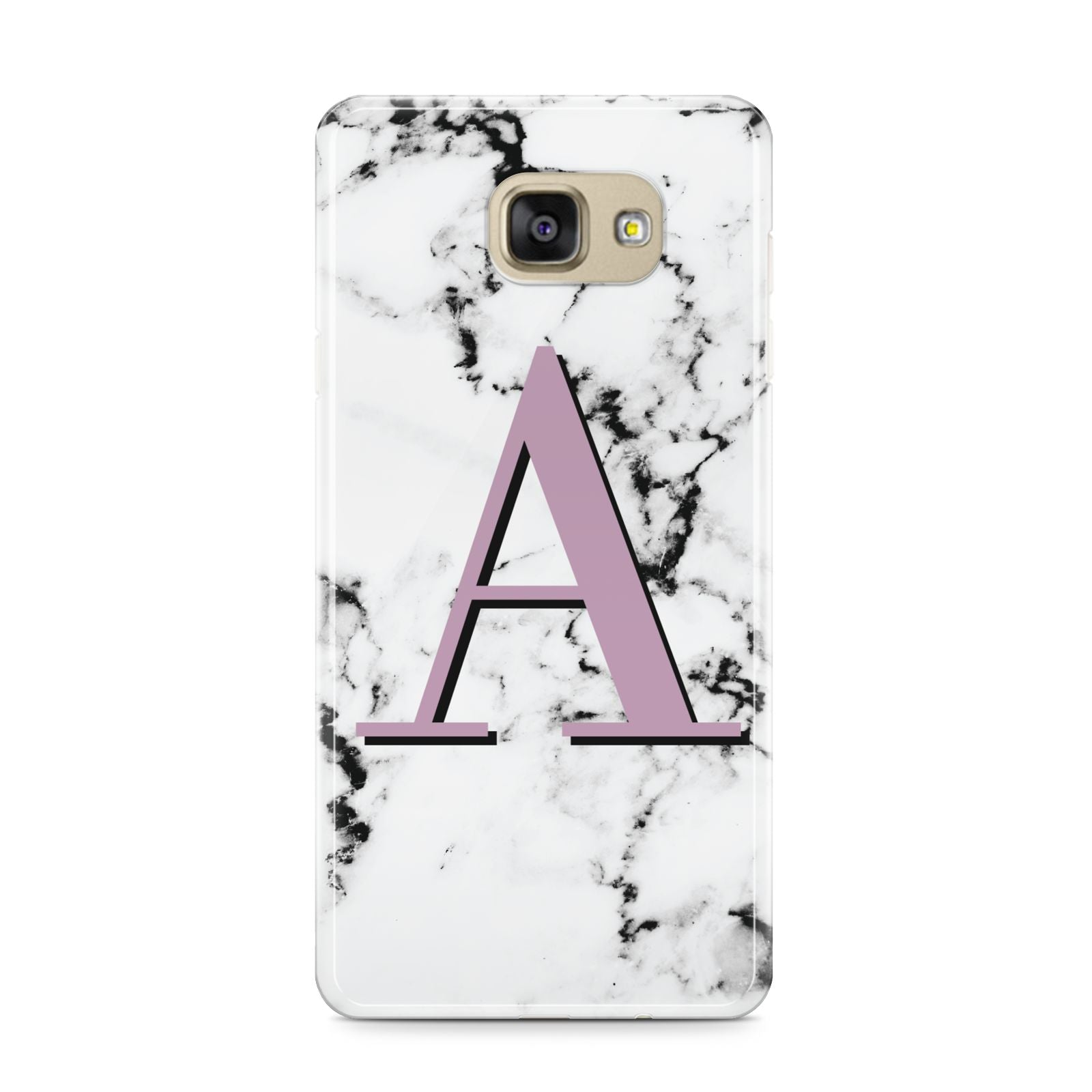 Personalised Purple Single Initial Marble Samsung Galaxy A9 2016 Case on gold phone