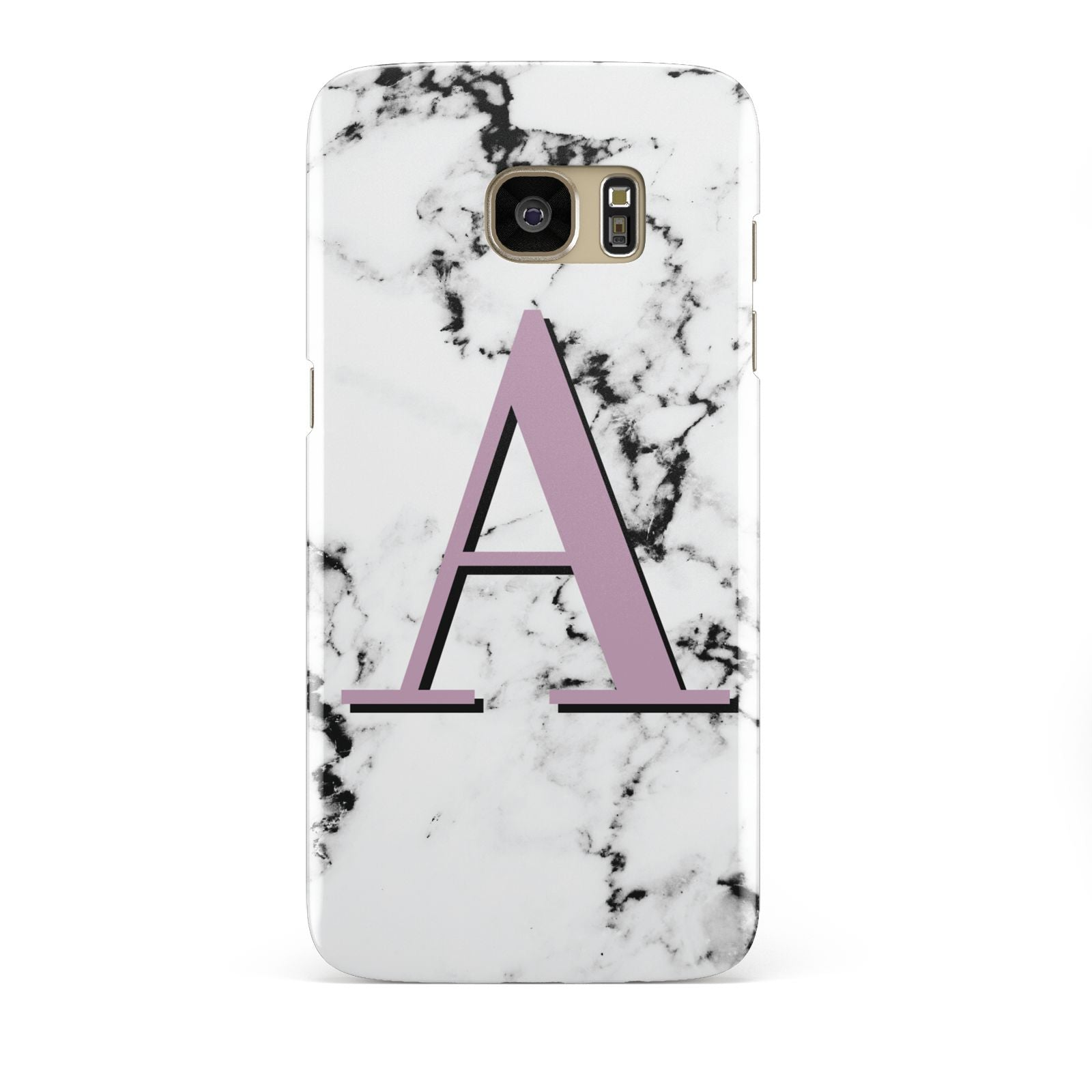 Personalised Purple Single Initial Marble Samsung Galaxy S7 Edge Case