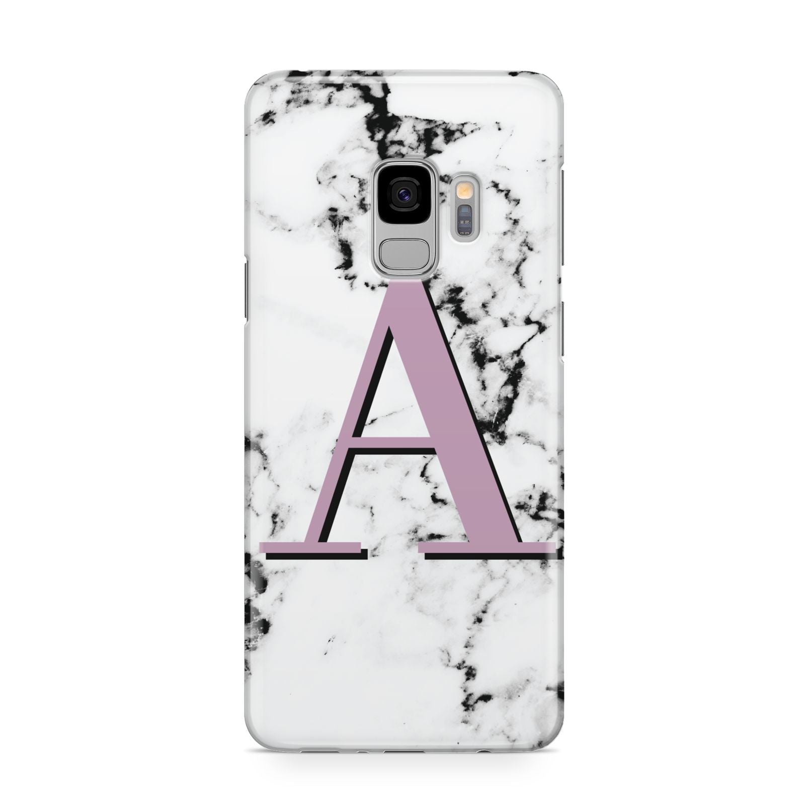 Personalised Purple Single Initial Marble Samsung Galaxy S9 Case