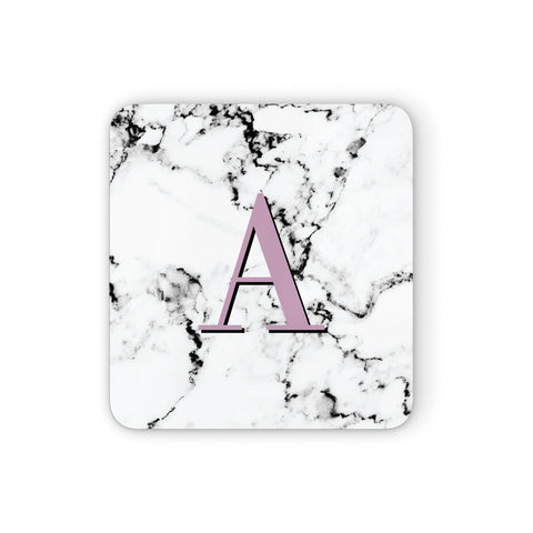 Personalised Purple Single Initial Marble Coasters set of 4