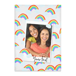 Personalised Rainbow Photo Upload Cotton Tea Towel