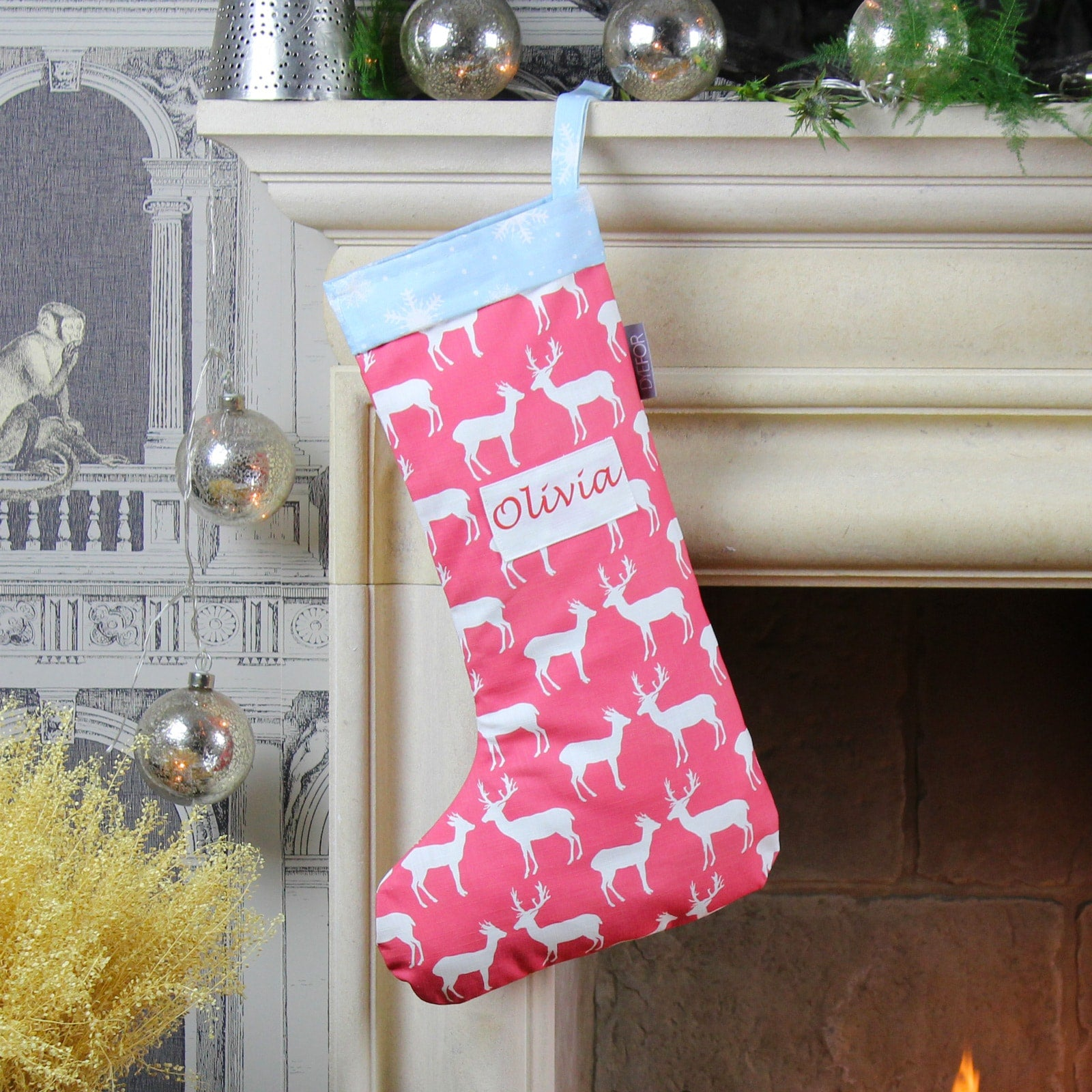Personalised Red Reindeer Christmas Stocking