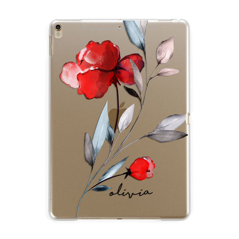 Personalised Red Roses Floral Name iPad Case
