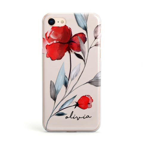 Personalised Red Roses Floral Name iPhone Case