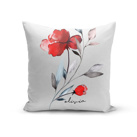 Personalised Red Roses Floral Name Cushion