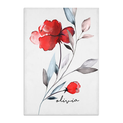 Personalised Red Roses Floral Name Tea Towel