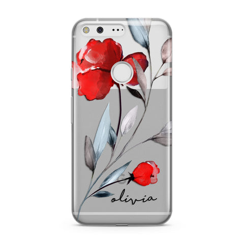 Personalised Red Roses Floral Name Google Case