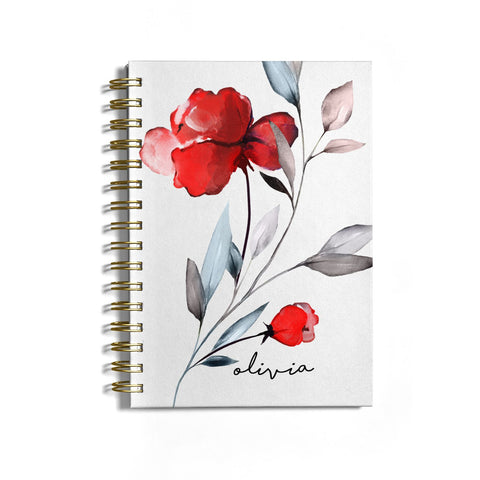 Personalised Red Roses Floral Name Notebook