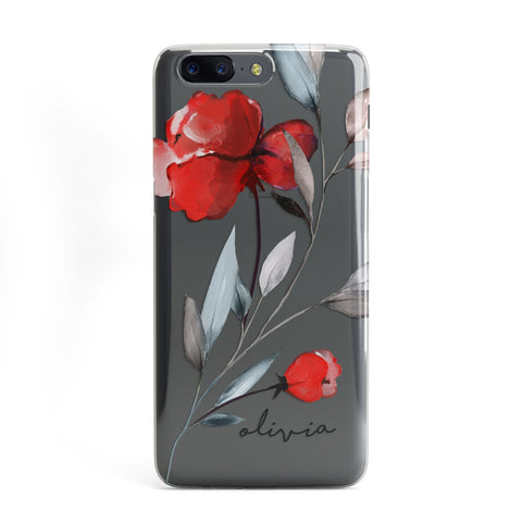Personalised Red Roses Floral Name OnePlus Case