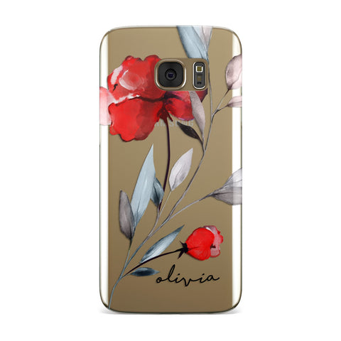 Personalised Red Roses Floral Name Samsung Galaxy Case