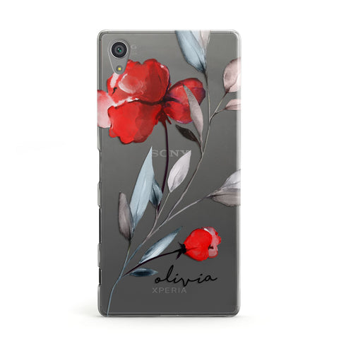 Personalised Red Roses Floral Name Sony Case
