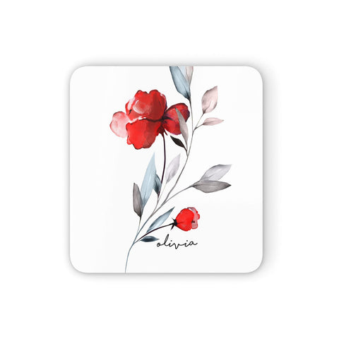 Personalised Red Roses Floral Name Coasters set of 4