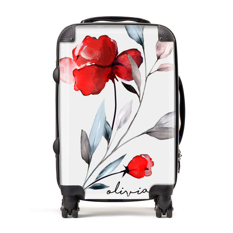 Personalised Red Roses Floral Name Suitcase