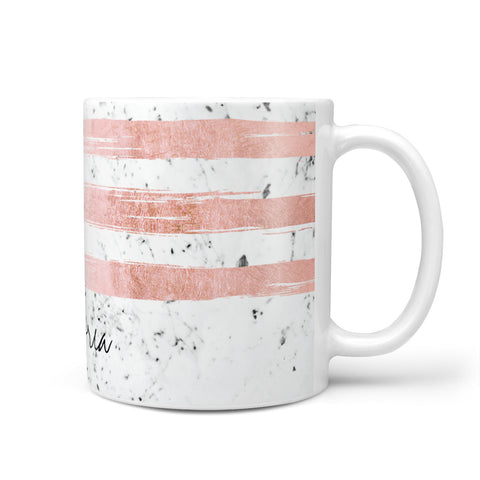 Personalised Rose Gold Brush Marble Initial Mug