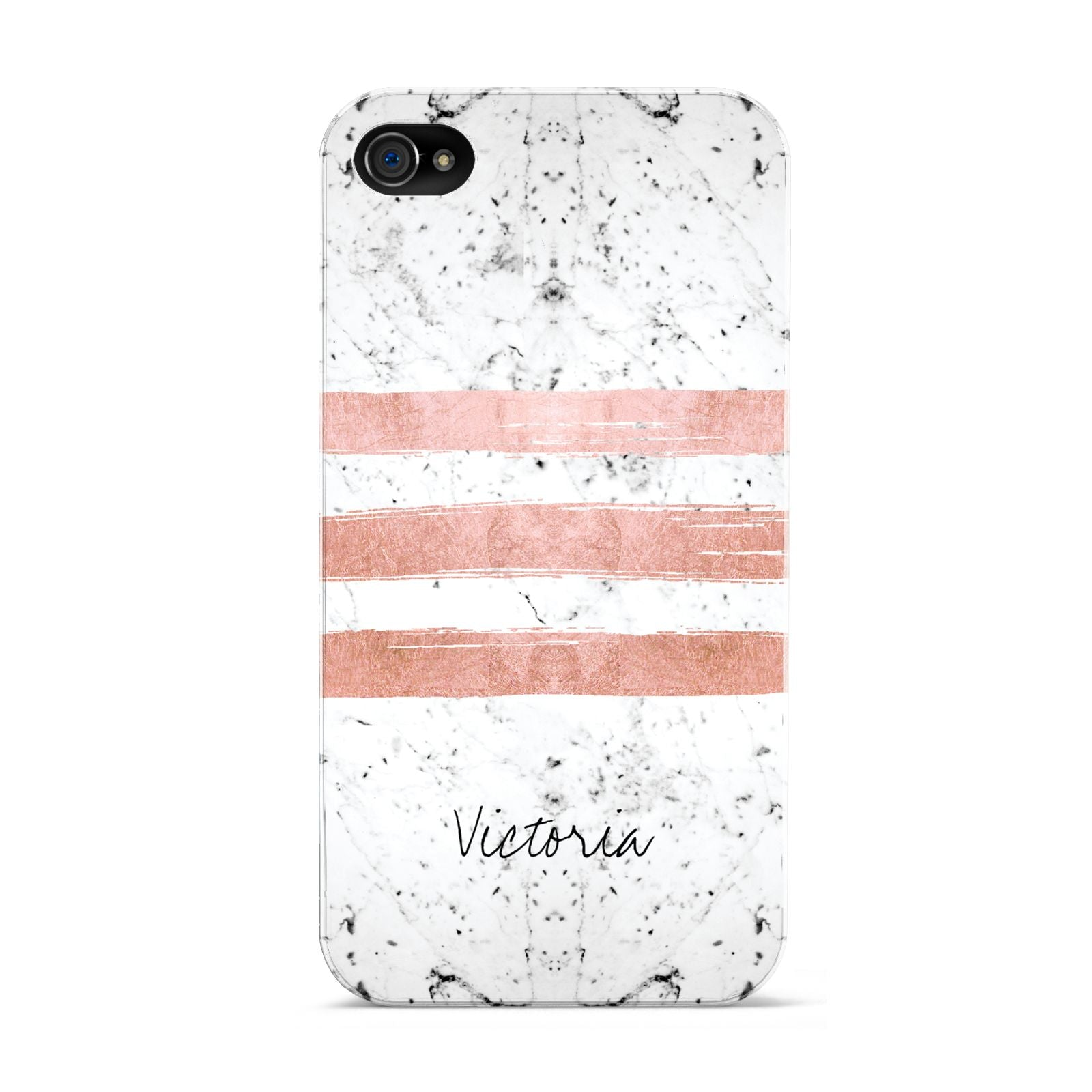 Personalised Rose Gold Brush Marble Initial Apple iPhone 4s Case