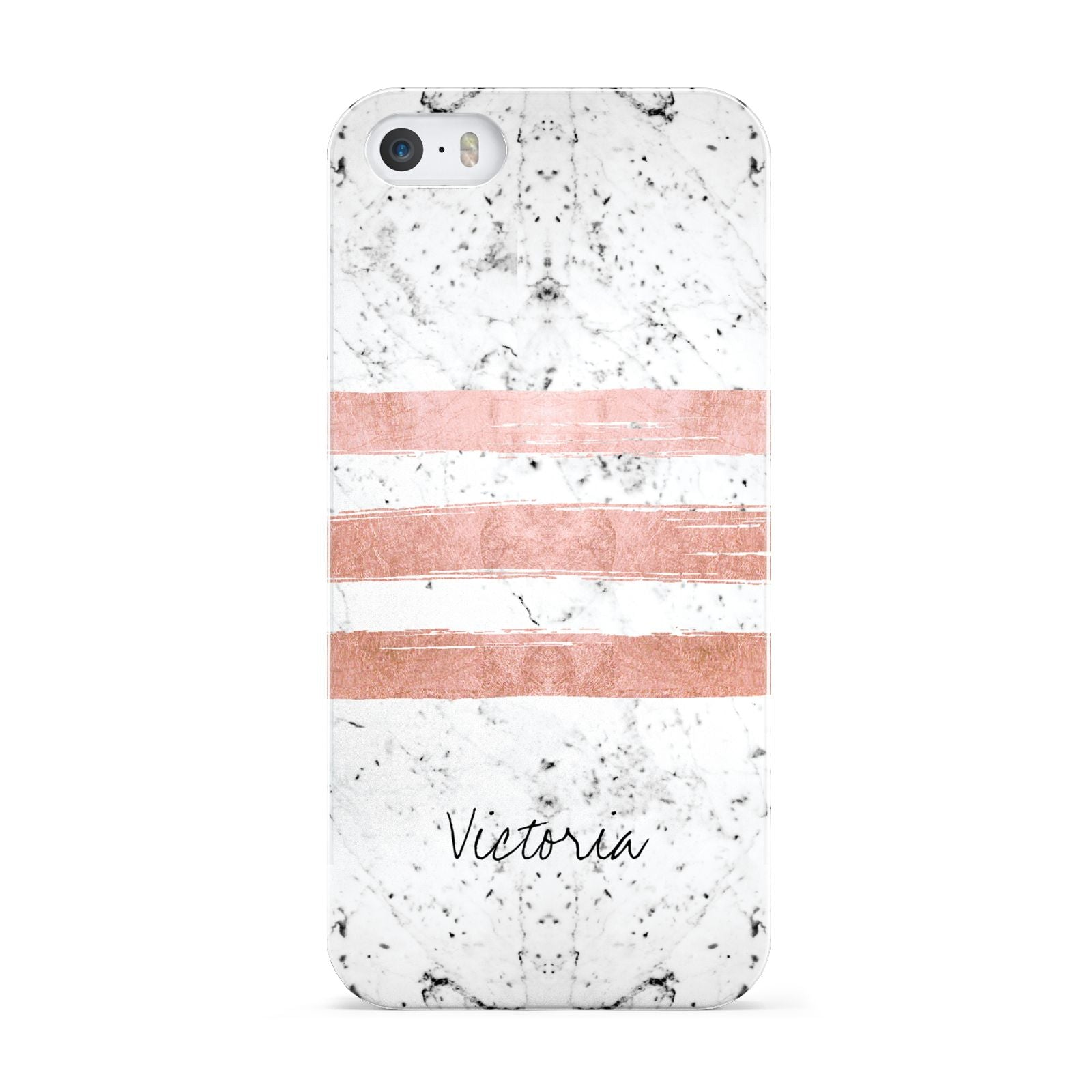 Personalised Rose Gold Brush Marble Initial Apple iPhone 5 Case