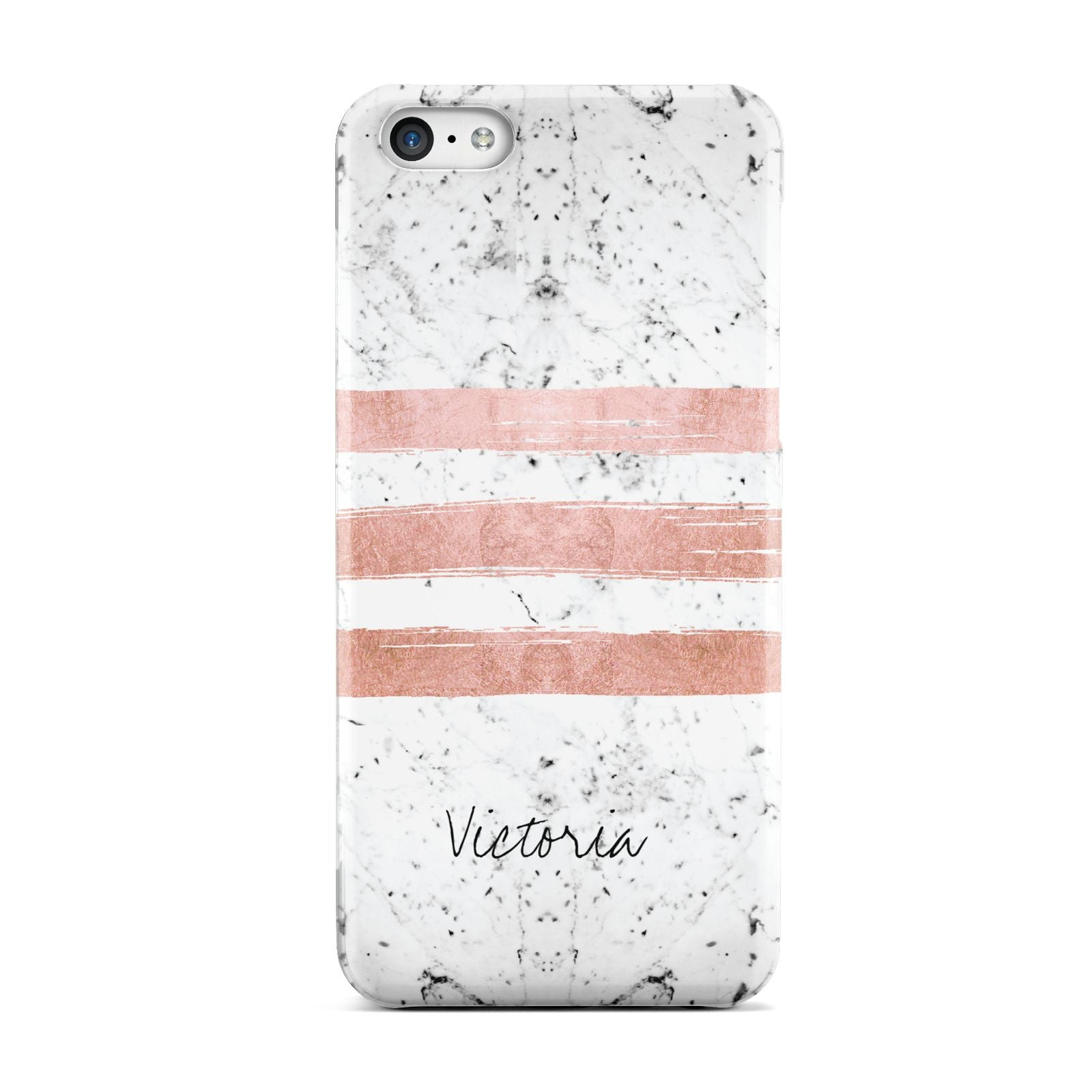 Personalised Rose Gold Brush Marble Initial Apple iPhone 5c Case