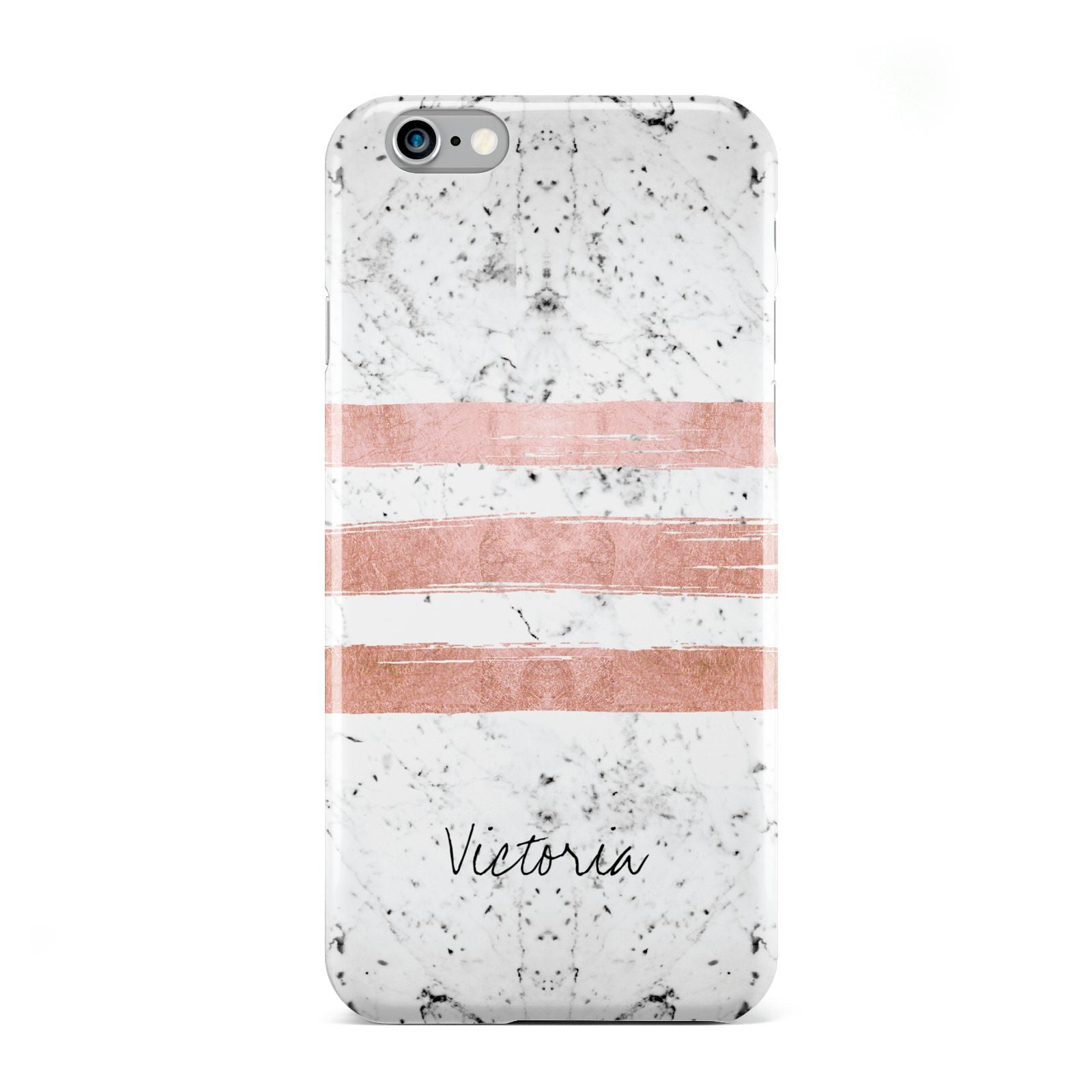 Personalised Rose Gold Brush Marble Initial Apple iPhone 6 Case