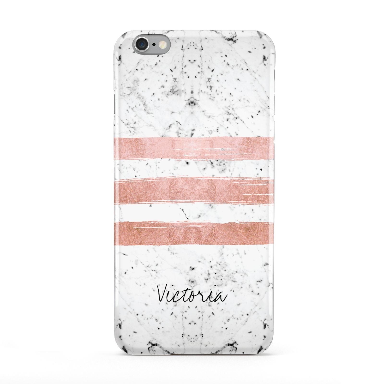 Personalised Rose Gold Brush Marble Initial Apple iPhone 6 Plus Case