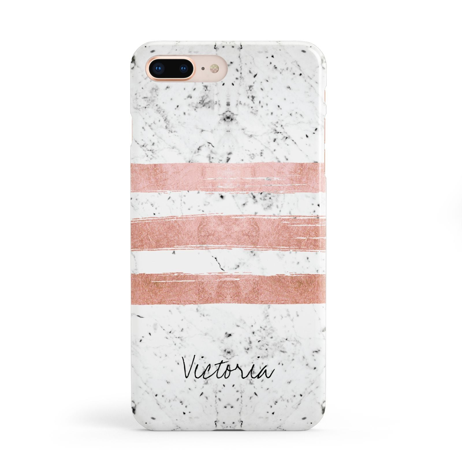 Personalised Rose Gold Brush Marble Initial Apple iPhone 8 Plus Case