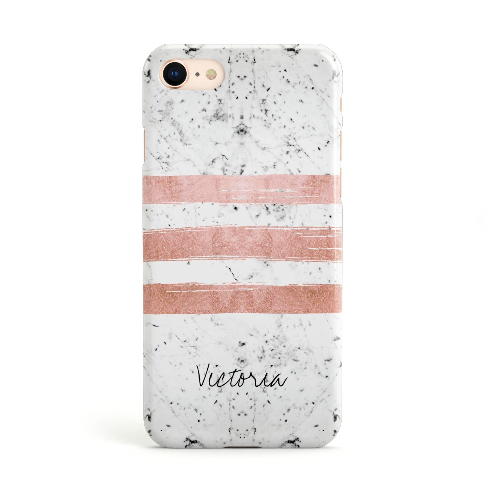 Personalised Rose Gold Brush Marble Initial Apple iPhone Case