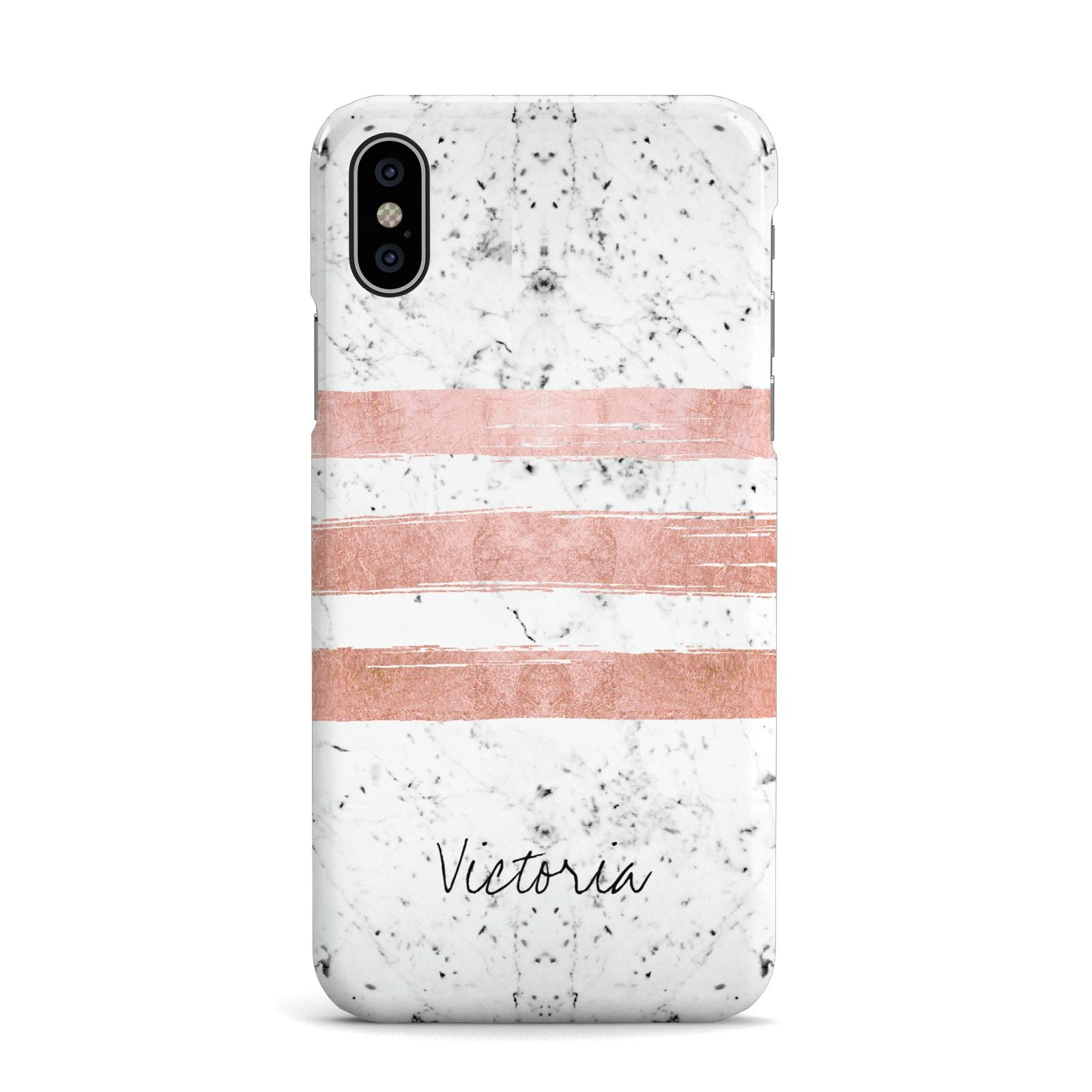 Personalised Rose Gold Brush Marble Initial Apple iPhone X Case