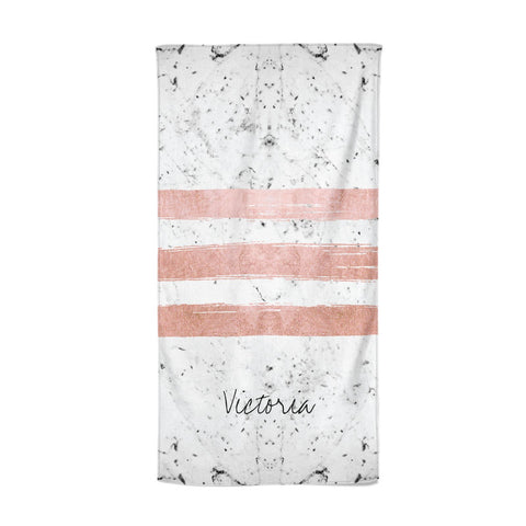 Personalised Rose Gold Brush Marble Initial Beach Towel