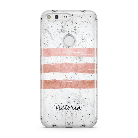 Personalised Rose Gold Brush Marble Initial Google Case
