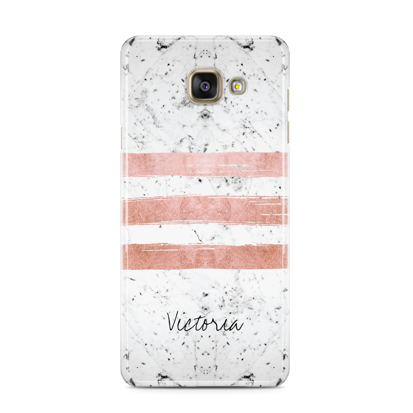 Personalised Rose Gold Brush Marble Initial Samsung Galaxy A3 2016 Case on gold phone