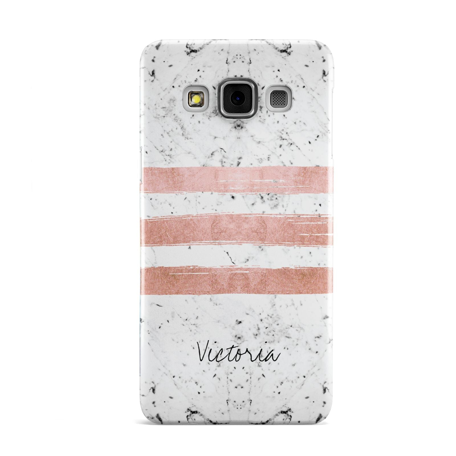 Personalised Rose Gold Brush Marble Initial Samsung Galaxy A3 Case