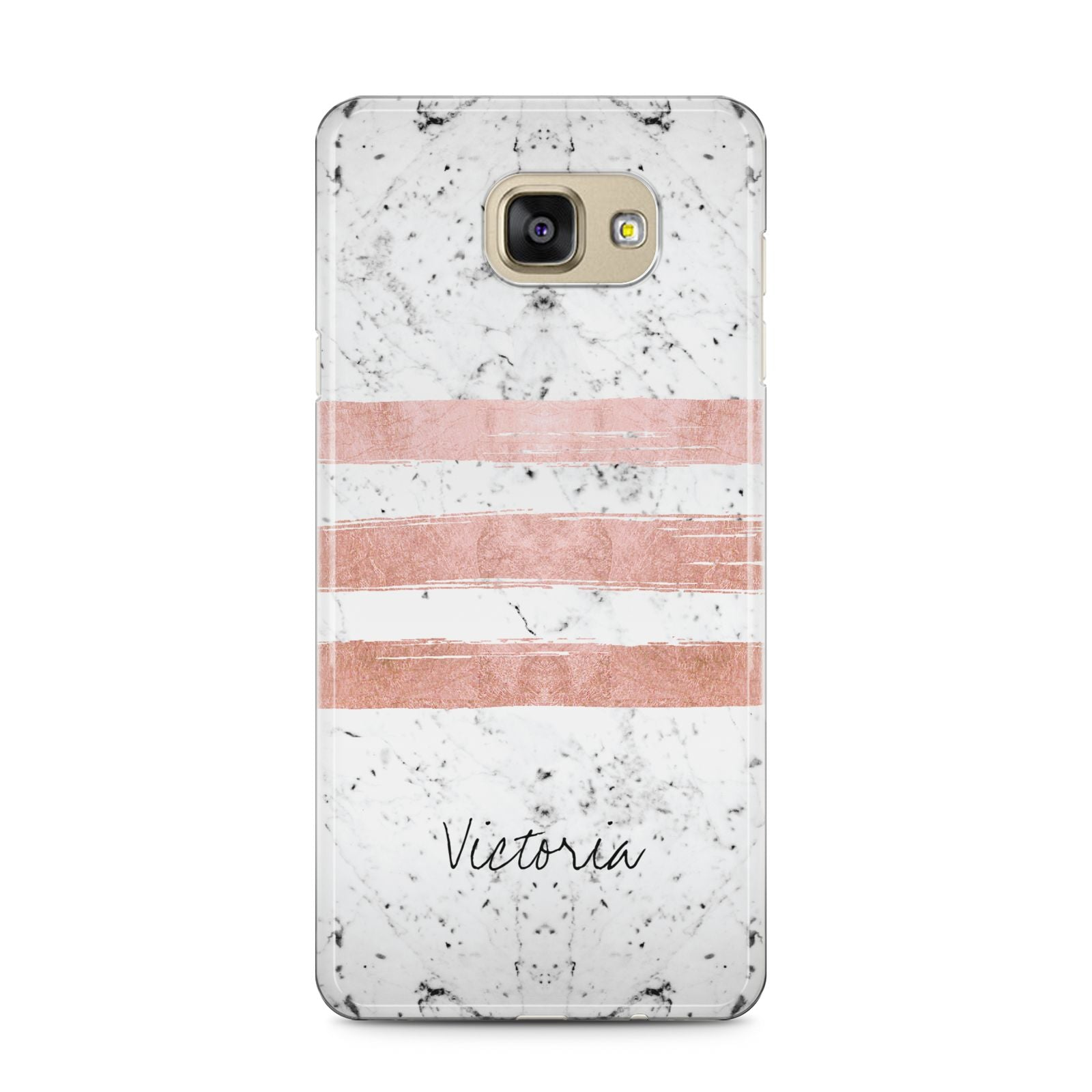 Personalised Rose Gold Brush Marble Initial Samsung Galaxy A5 2016 Case on gold phone