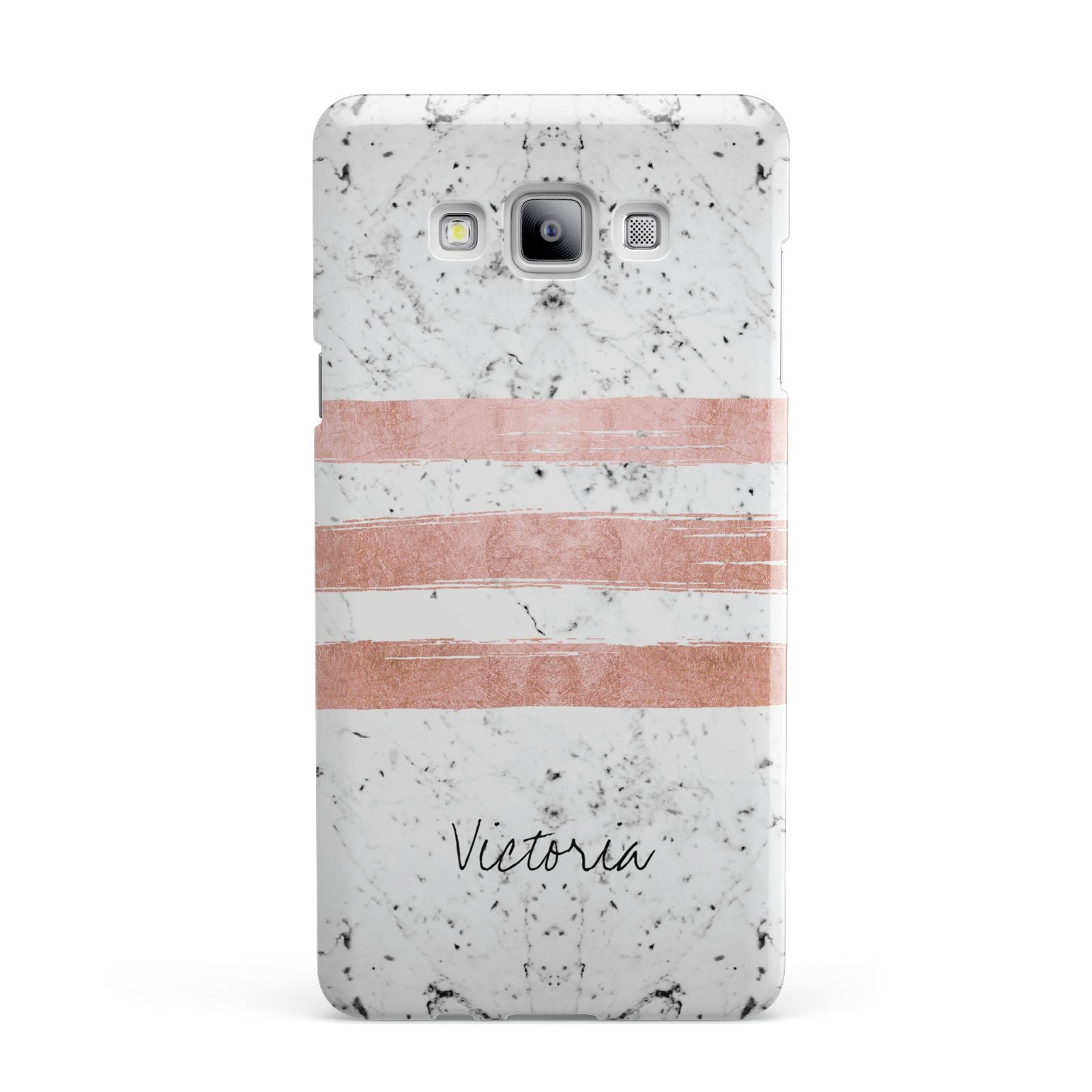 Personalised Rose Gold Brush Marble Initial Samsung Galaxy A7 2015 Case