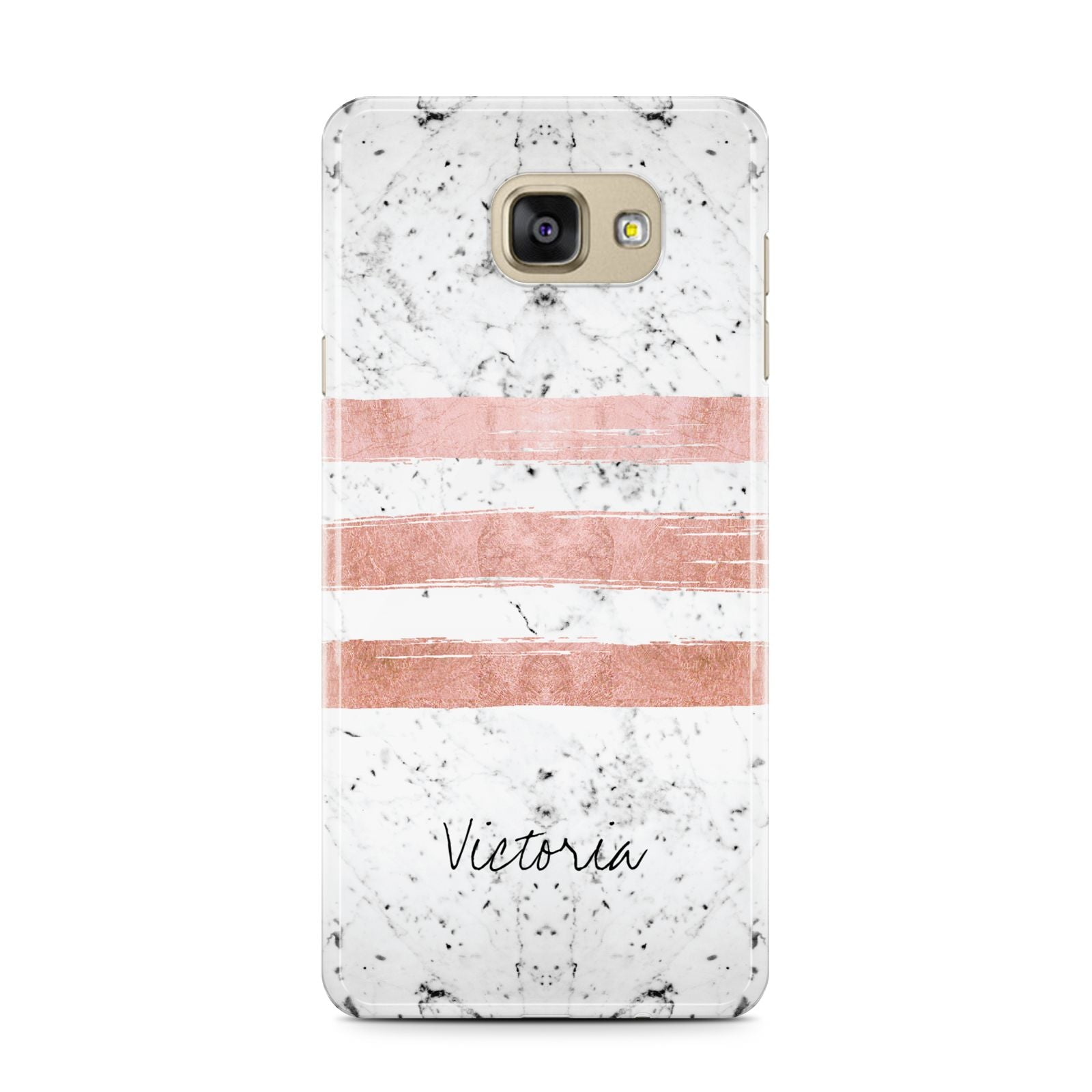 Personalised Rose Gold Brush Marble Initial Samsung Galaxy A7 2016 Case on gold phone
