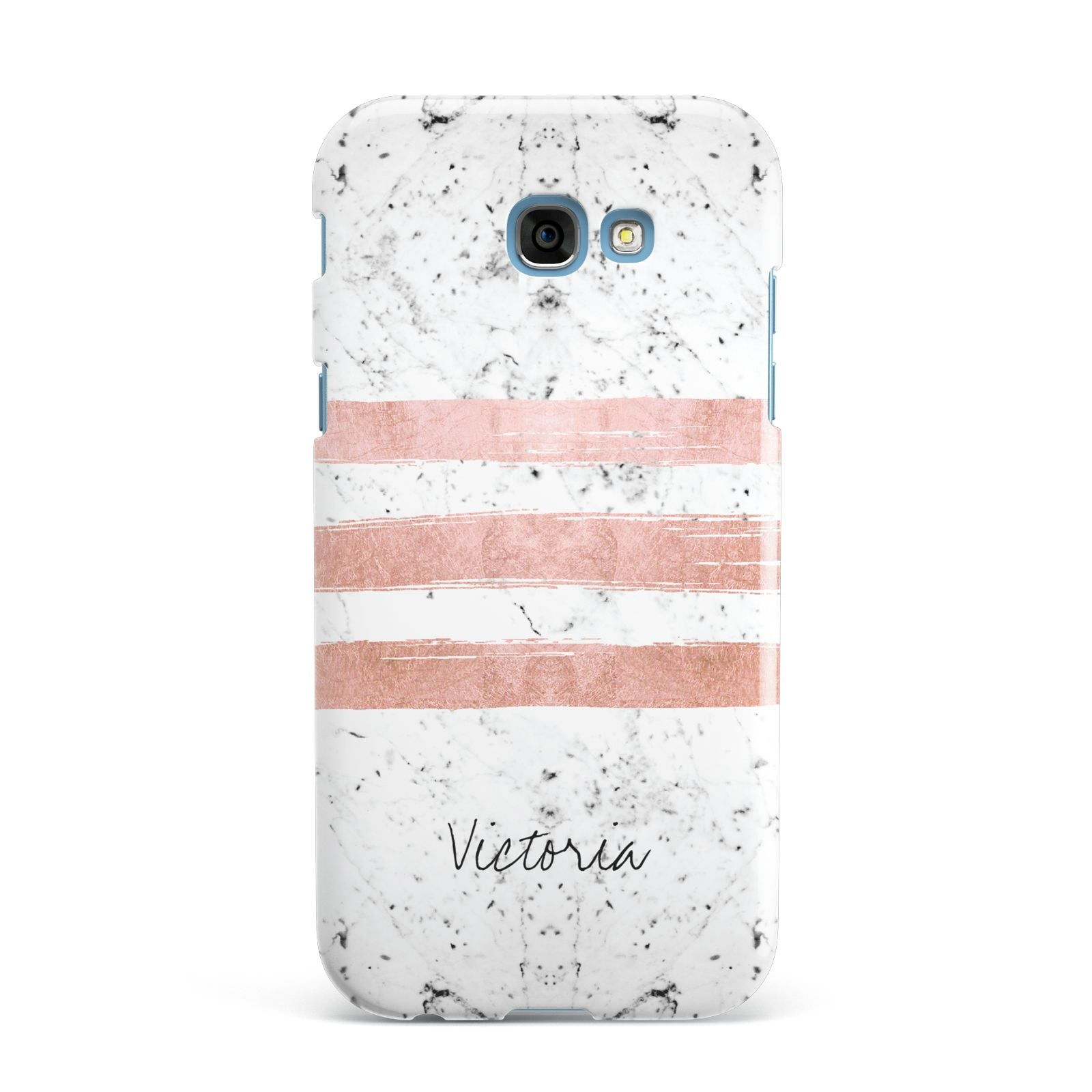 Personalised Rose Gold Brush Marble Initial Samsung Galaxy A7 2017 Case