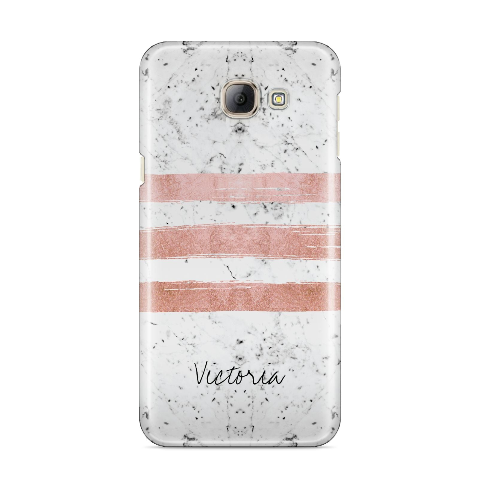 Personalised Rose Gold Brush Marble Initial Samsung Galaxy A8 2016 Case