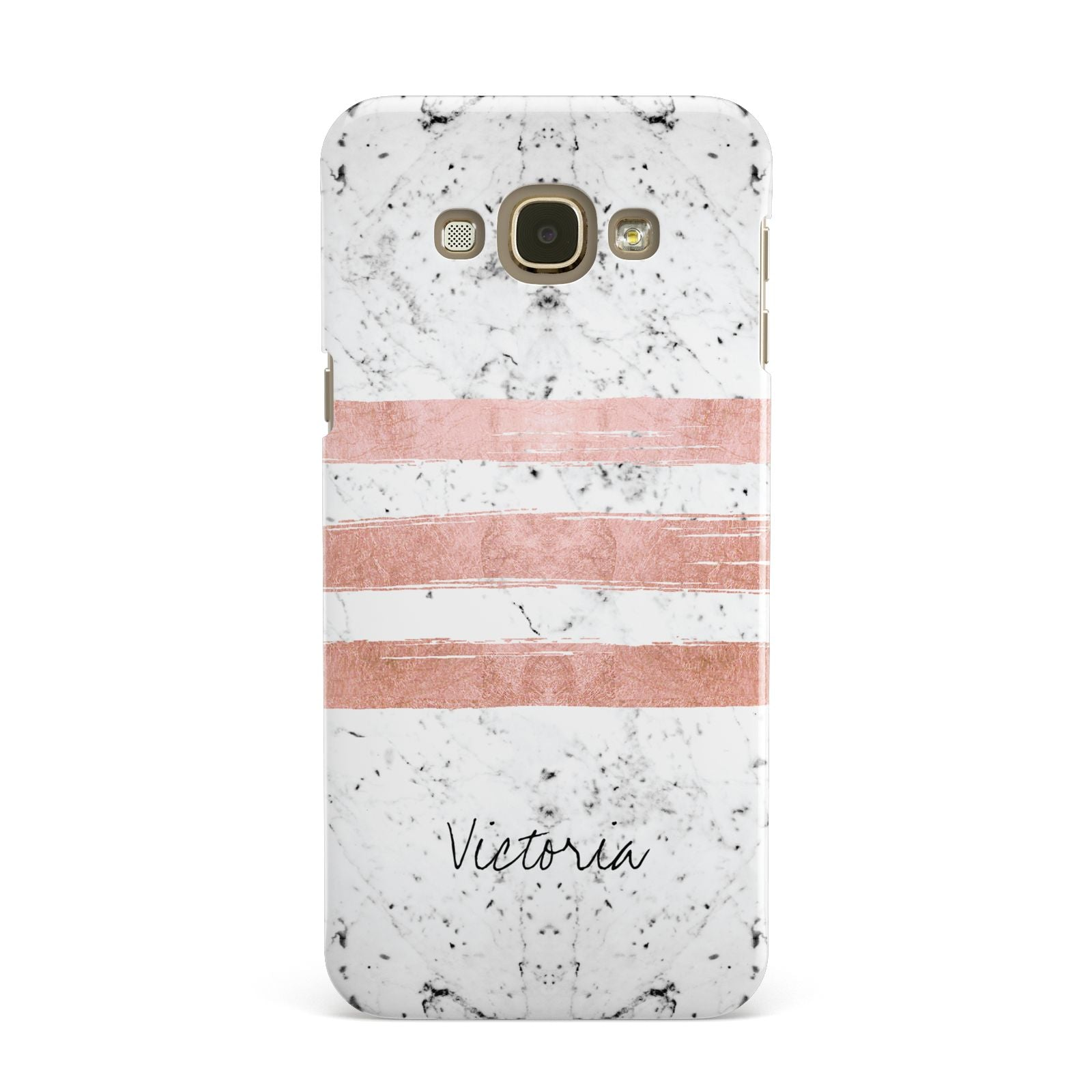Personalised Rose Gold Brush Marble Initial Samsung Galaxy A8 Case