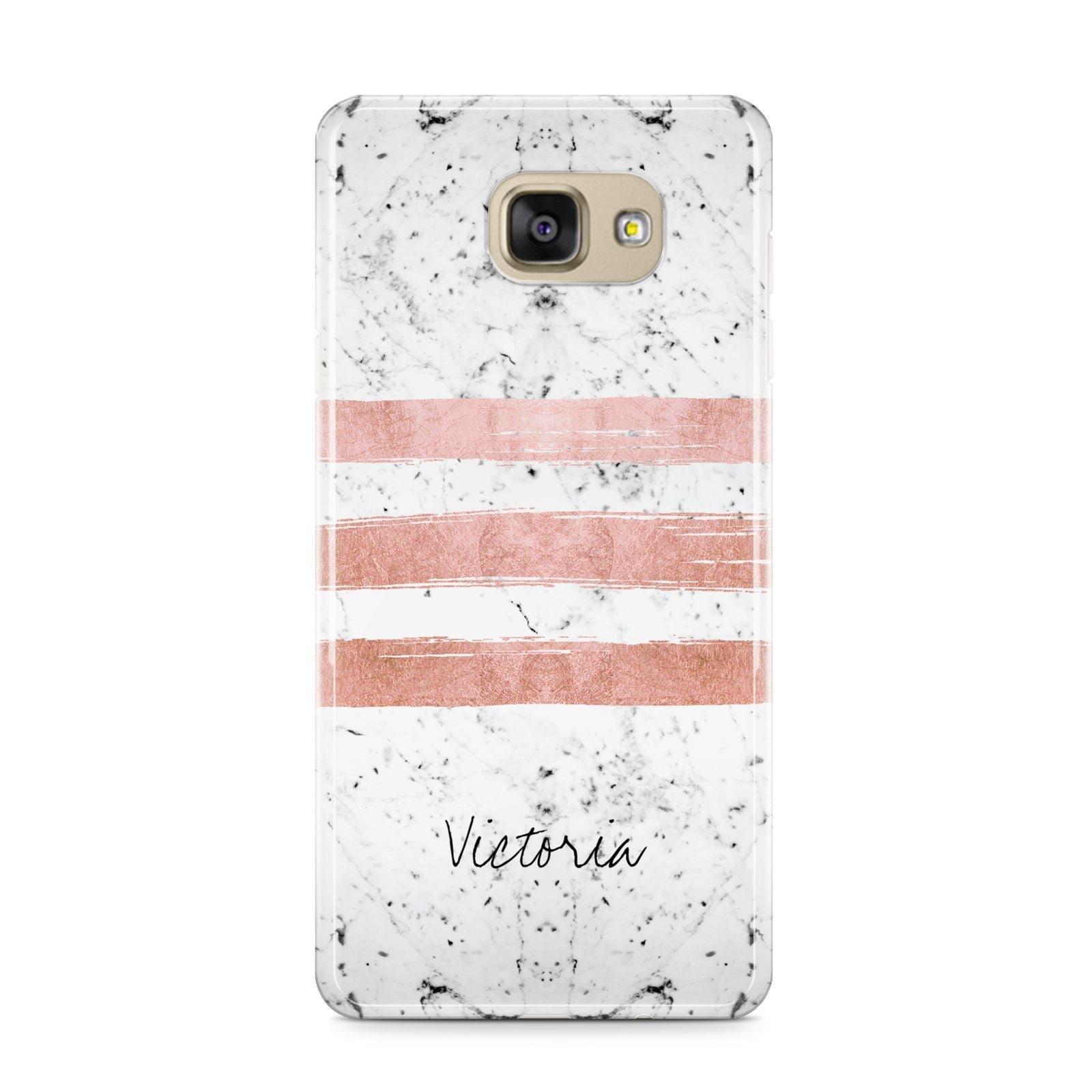 Personalised Rose Gold Brush Marble Initial Samsung Galaxy A9 2016 Case on gold phone