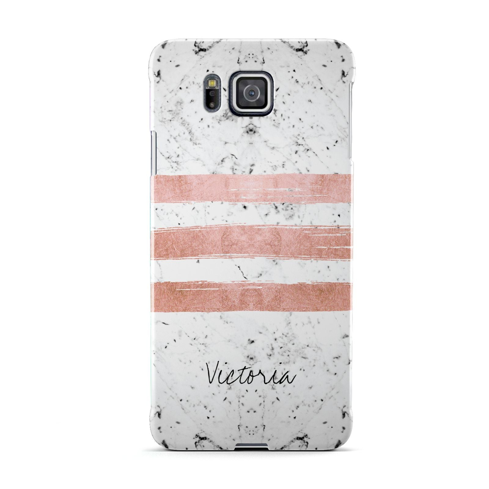 Personalised Rose Gold Brush Marble Initial Samsung Galaxy Alpha Case