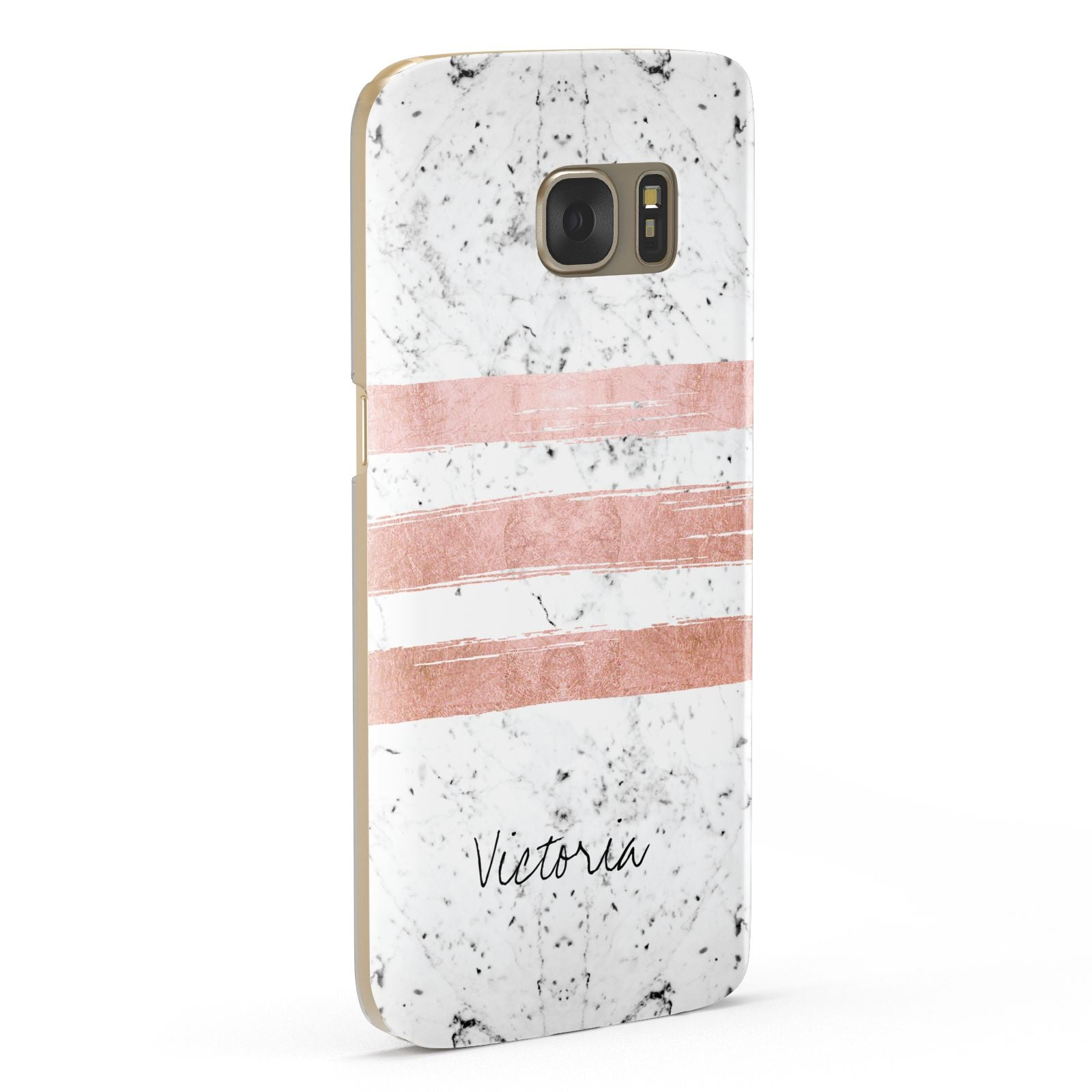 Personalised Rose Gold Brush Marble Initial Samsung Galaxy Case Fourty Five Degrees