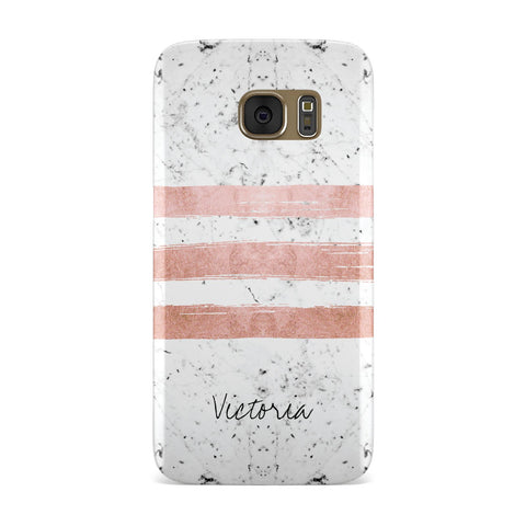 Personalised Rose Gold Brush Marble Initial Samsung Galaxy Case