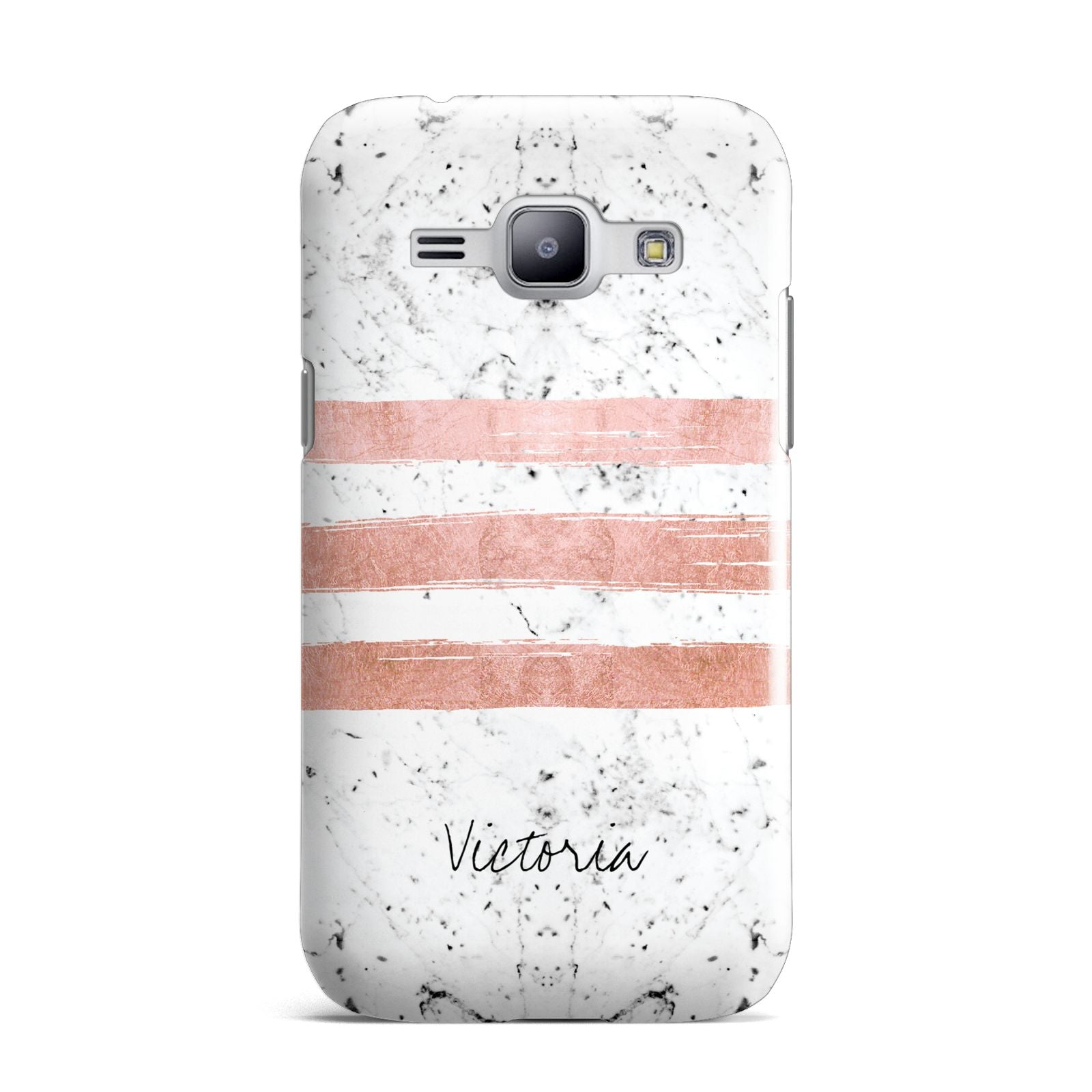 Personalised Rose Gold Brush Marble Initial Samsung Galaxy J1 2015 Case