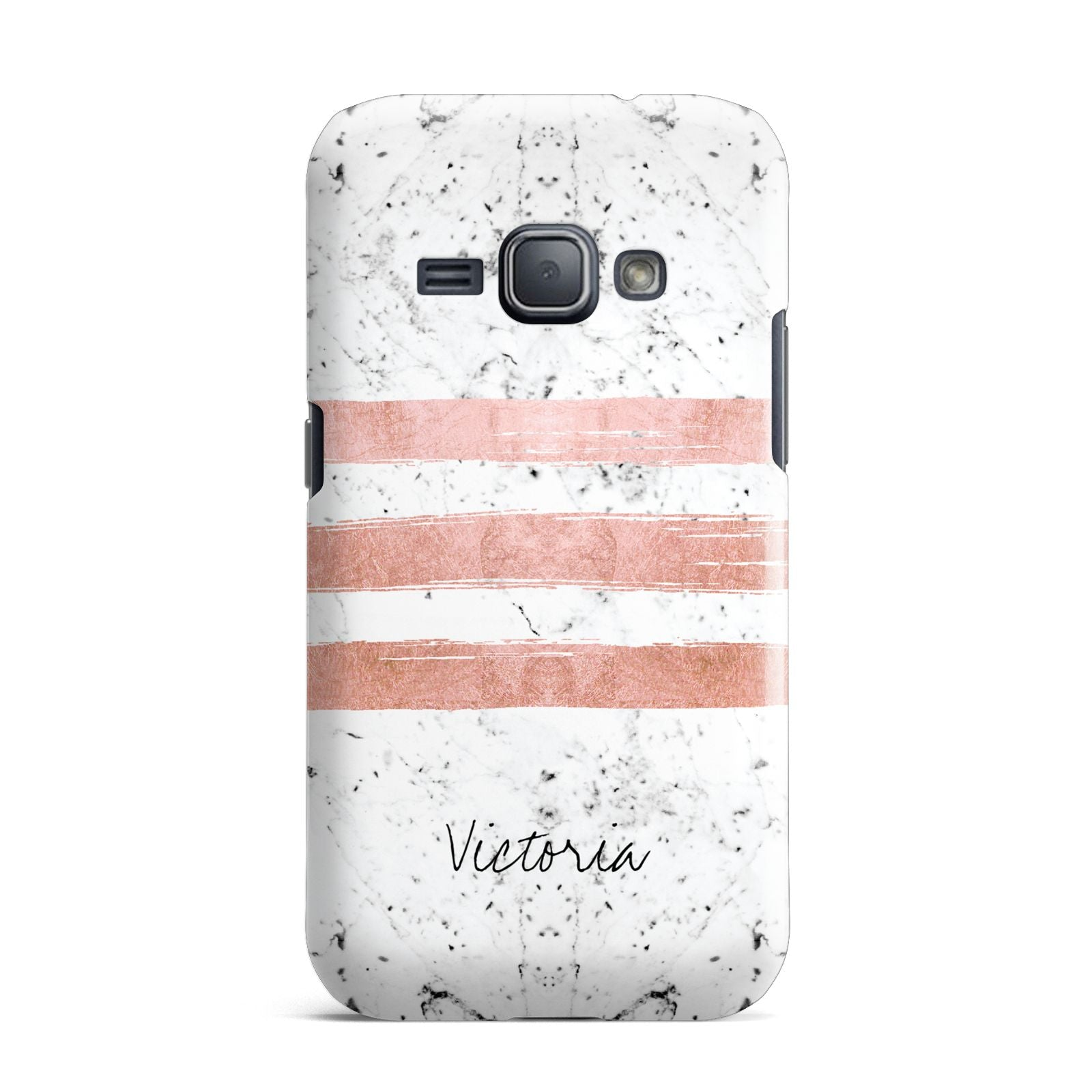 Personalised Rose Gold Brush Marble Initial Samsung Galaxy J1 2016 Case