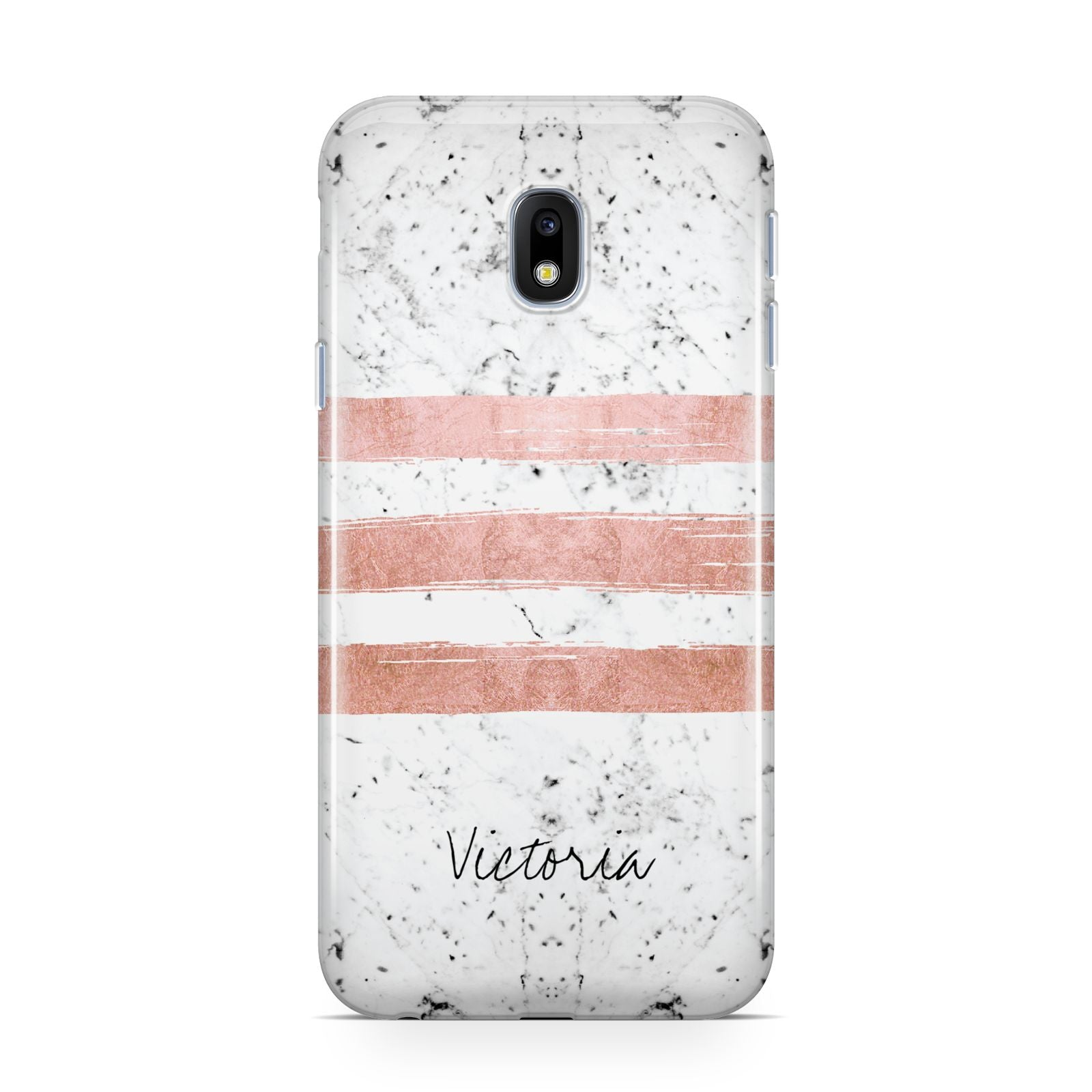 Personalised Rose Gold Brush Marble Initial Samsung Galaxy J3 2017 Case