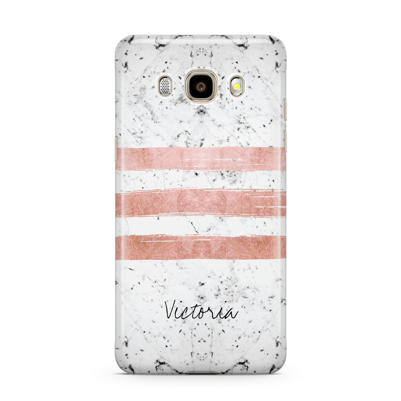 Personalised Rose Gold Brush Marble Initial Samsung Galaxy J7 2016 Case on gold phone