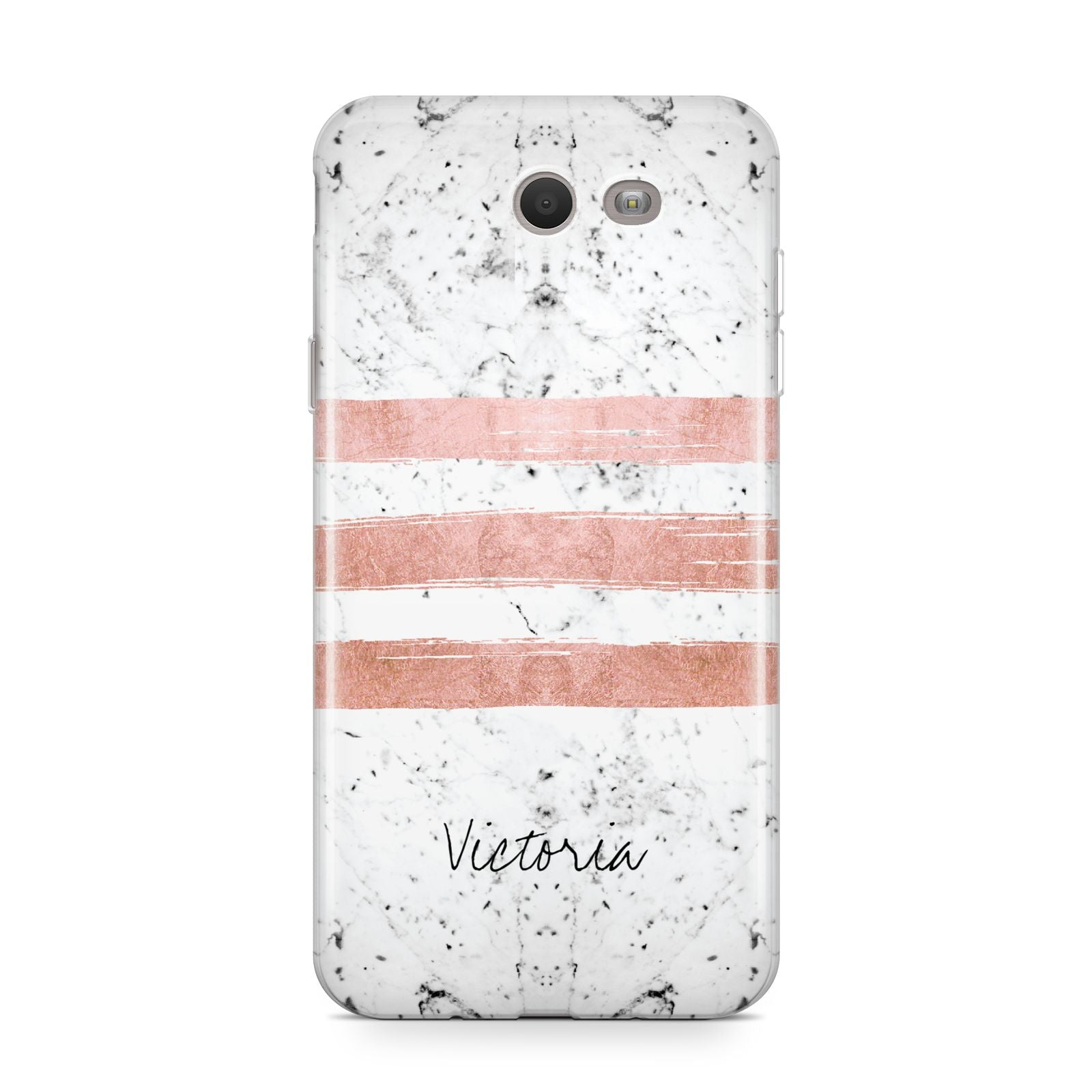 Personalised Rose Gold Brush Marble Initial Samsung Galaxy J7 2017 Case